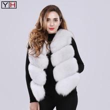Women Natural Real Fox Fur Vest Waistcoat Short sleeveless Vest Lady winter warm Real Fur Vest Real Fur Jacket Fox Fur Coat