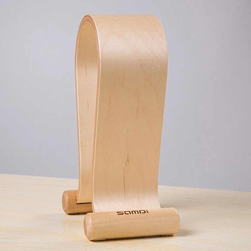 SamDi 木製ヘッドホンディスプレイスタンドヘッドフォンホルダーヘッドセットハンガーサポートで適切なすべてヘッドホンサイズ白樺 (ベージュ)
