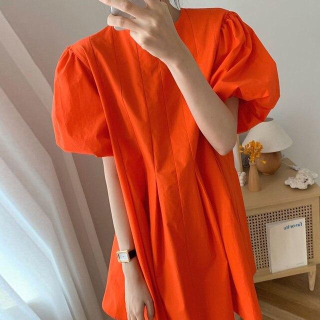 [EWQ] 2021 New Summer Women Vintage Loose High Waist Slim Was Thin Elegant Folds Puff Sleeve O-neck Mini Dress ZA4580 5
