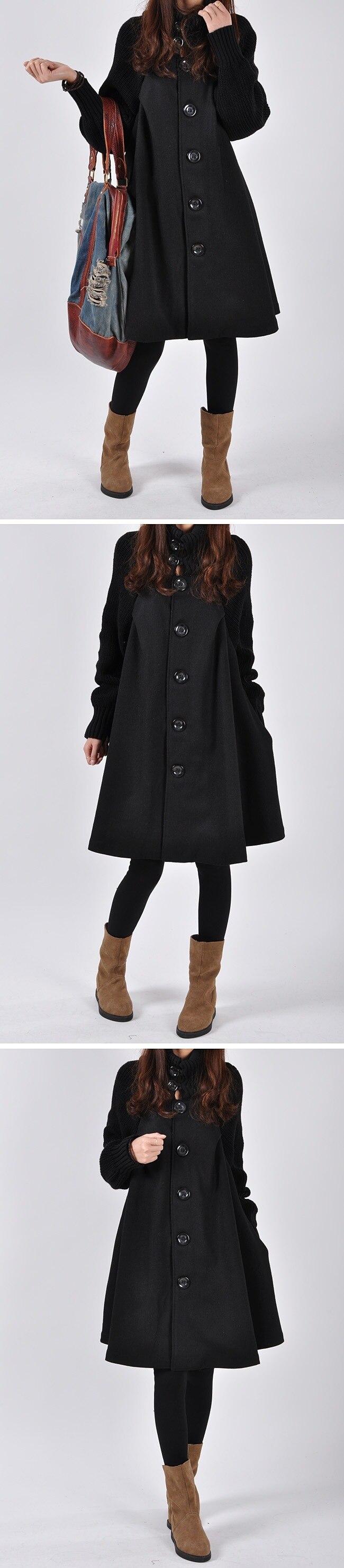 Autumn Winter Coat Women 2019 Casual Vintage Patchwork Cloak Plus Size Coats Female Elegant Warm Black Long Coat casaco feminino 69