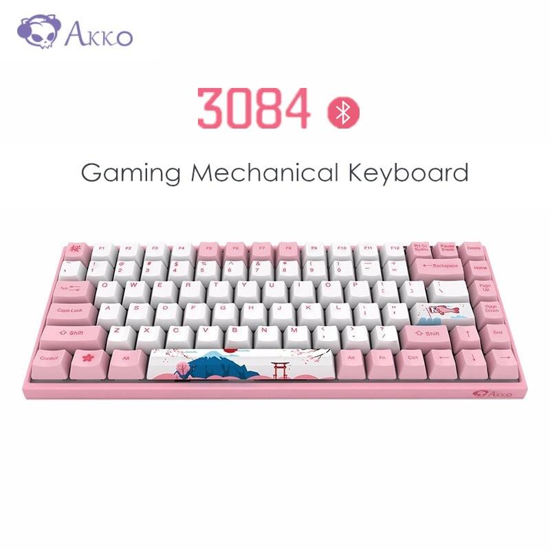 Original AKKO 3084  Bluetooth Mechanical Gaming Keyboard 84 Key Bluetooth 3.0 85% PBT Type-C For Windows Android Mac