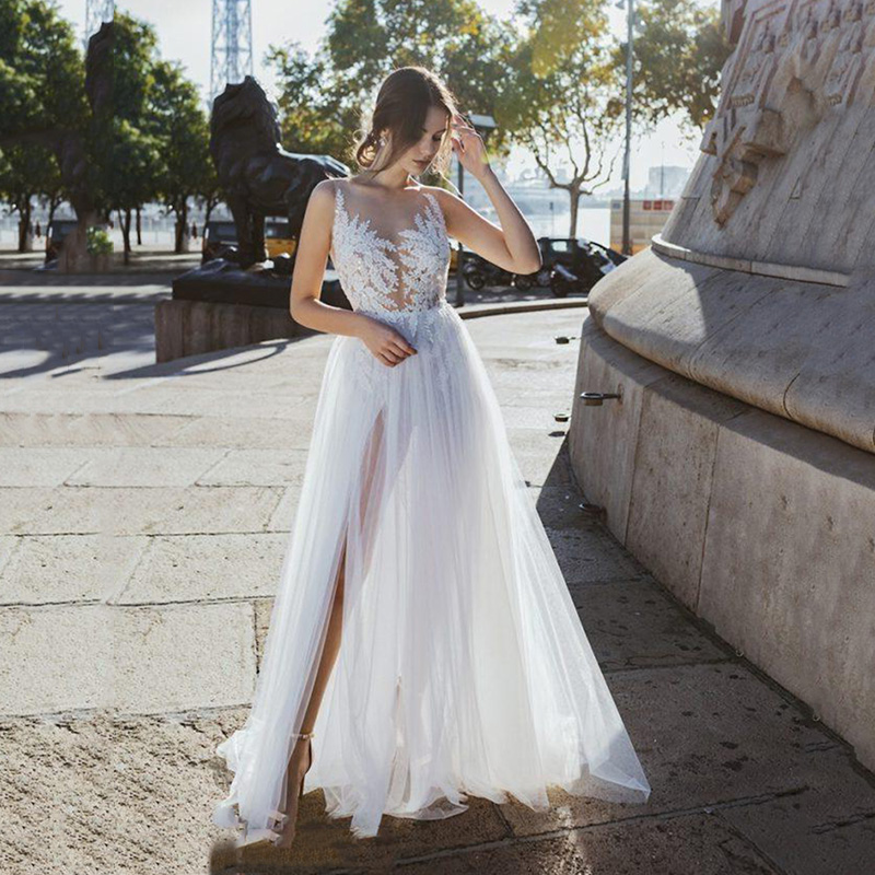 Summer Beach A Line Wedding Dresses Lace Appliques Tulle Sexy Side Split Open Back Wedding Bridal Gowns Wedding Dress Plus Size