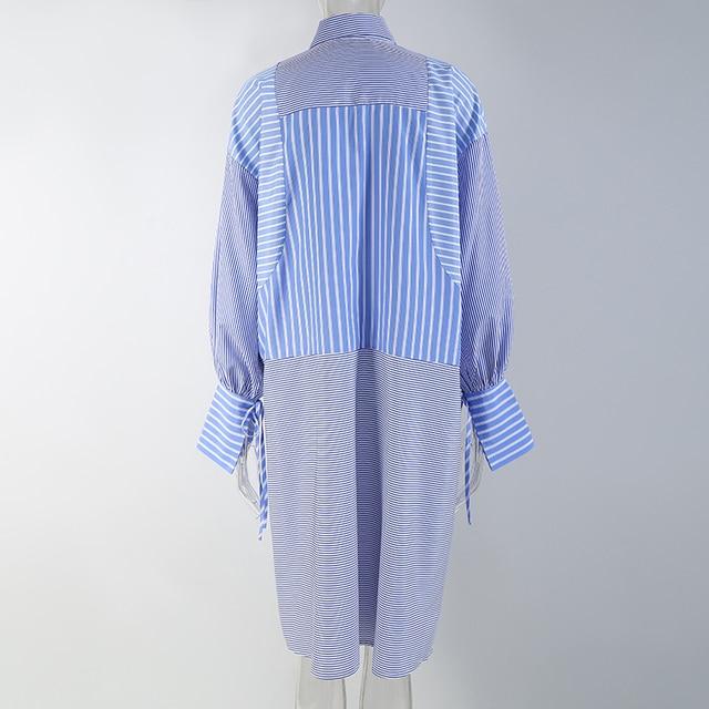Blue Striped Shirtdress flower accent 3