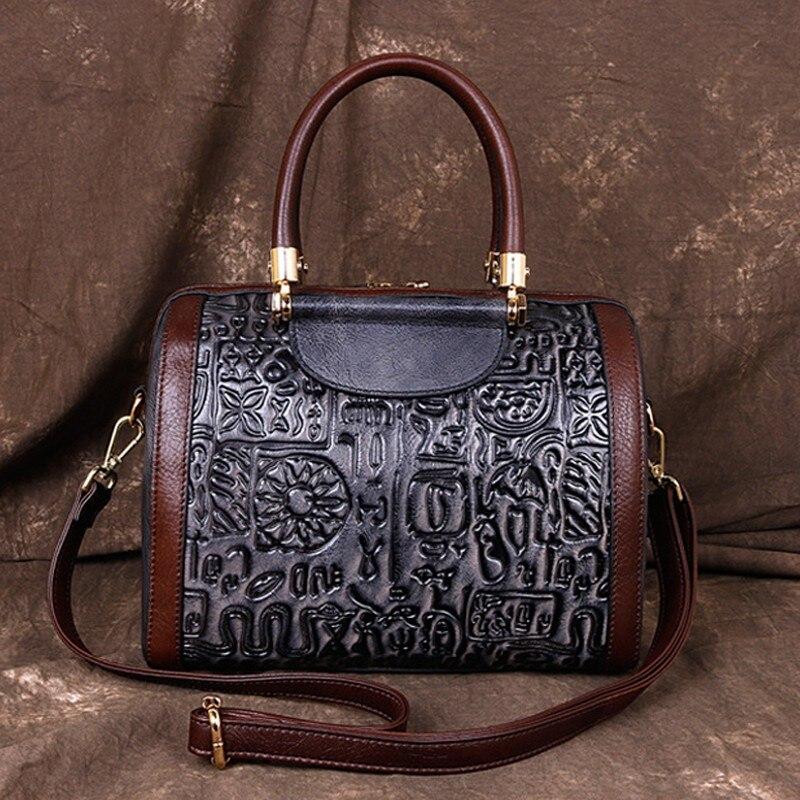 Retro Handmade Women Bag 2020 New Genuine Leather Cowhide Handbag Letter Casual Tote Large Capacity Shoulder Bags