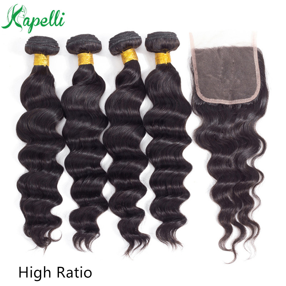 Loose Wave Bundles With Closure Non-Remy Human Hair Bundles With 4*4 Lace Closure Brazillian Hair 3/4 Bundles With Closure