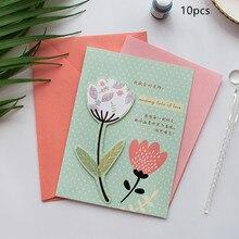 10sets Creative Teachers Day Hot Stamp Card  Envelope Childrens Kindergarten Folding Greeting Cartoon