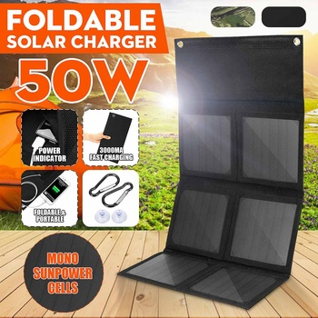 50W 5V Foldable Solar Panel Charger Solar Power Bank Dual USB Camouflage Backpack Camping Hiking for phone