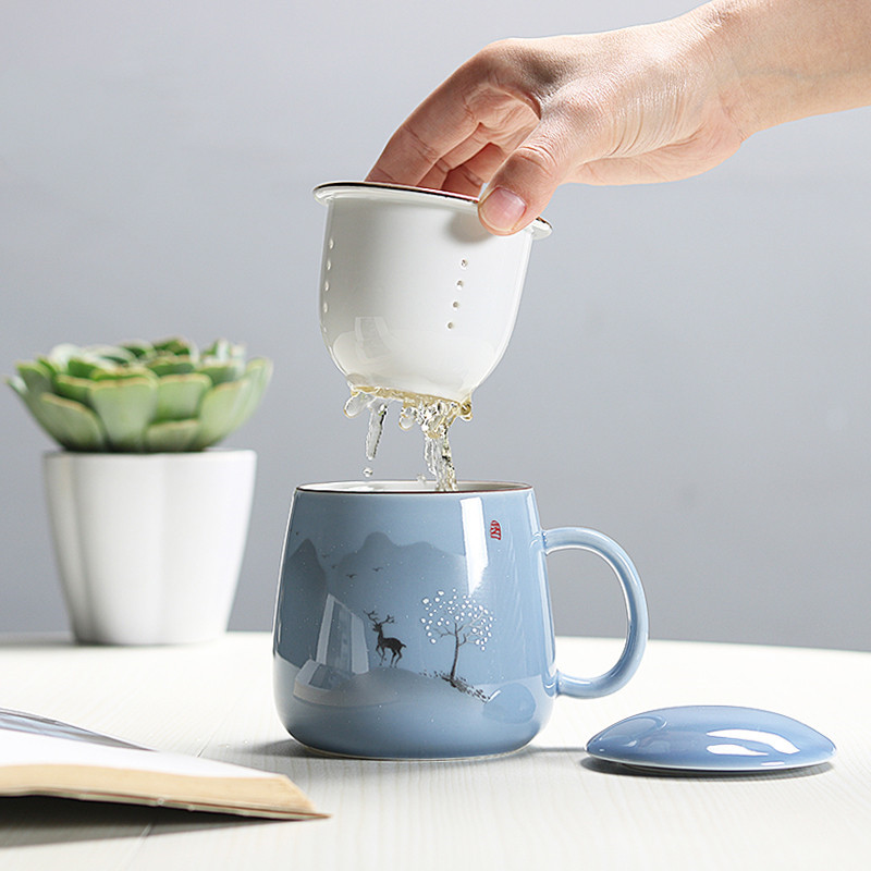 350ml Ceramic Filter Teacup Large Capacity Couple Drinkware Household Coffee Mug with Lid Porcelain Office Tea Separation Cup