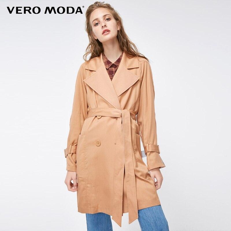 Vero Moda 2019 New Arrivals Women's Lapel Drop-shoulder Pure Wind Coat   Trench   Coat | 318321529