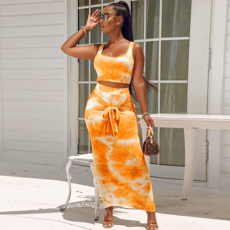 Toplook Sexy Tie Dye Bandage Two Piece Set Fashion Crop Tops High Waist Skirt Bodycon 2 Pieces Set 2020 Summer Women Outfits