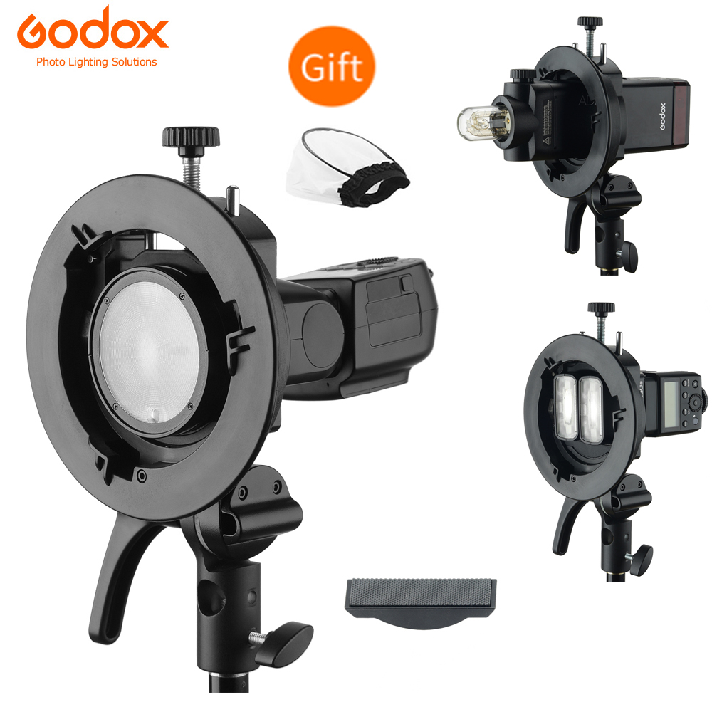 Godox S2 Bowens Mount Flash S-type Holder Bracket For Speedlite  Godox V1 V860II AD200 AD400PRO Speedlite Flash Snoot Softbox
