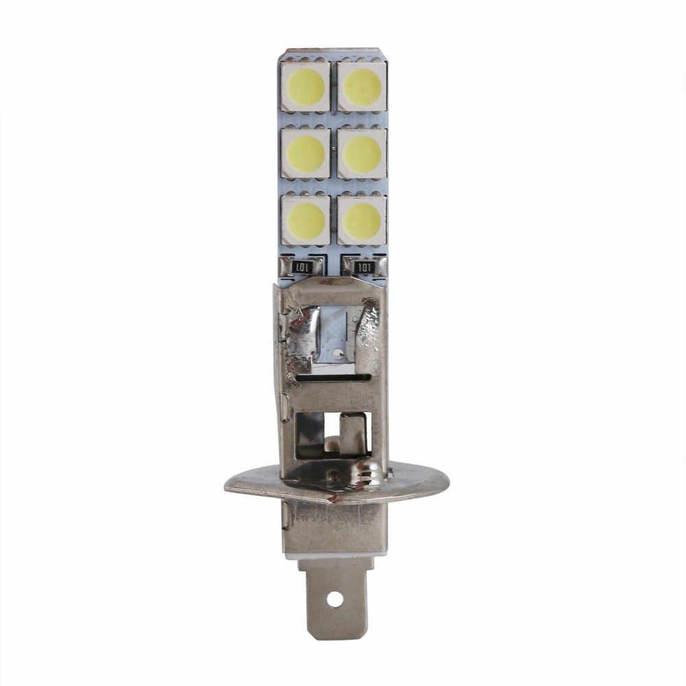 2PCS רכב H1 LED פנס 6000K לבן בהיר ערפל אורות 5050 דק שטוח הנורה רכב סטיילינג אבזרים # BL30
