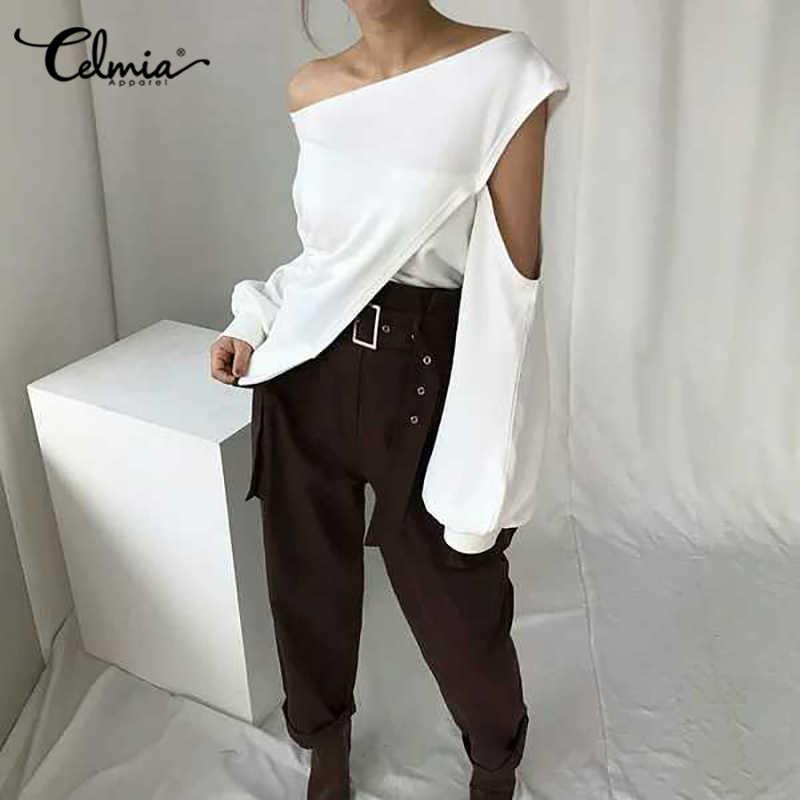 Celmia Plus rozmiar moda zimne ramię letnie koszule Celmia rękaw damski poszerzany typu lantern solidne codzienne bluzki seksowne topy nieregularne Blusas