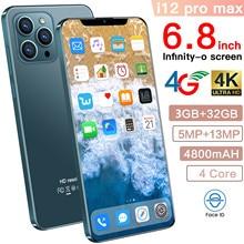 Smartphone cectdigi i12 pro max telefone inteligente desbloqueado android 3 + 32g ram 6.8 polegada gota de água tela telefone celular inteligente