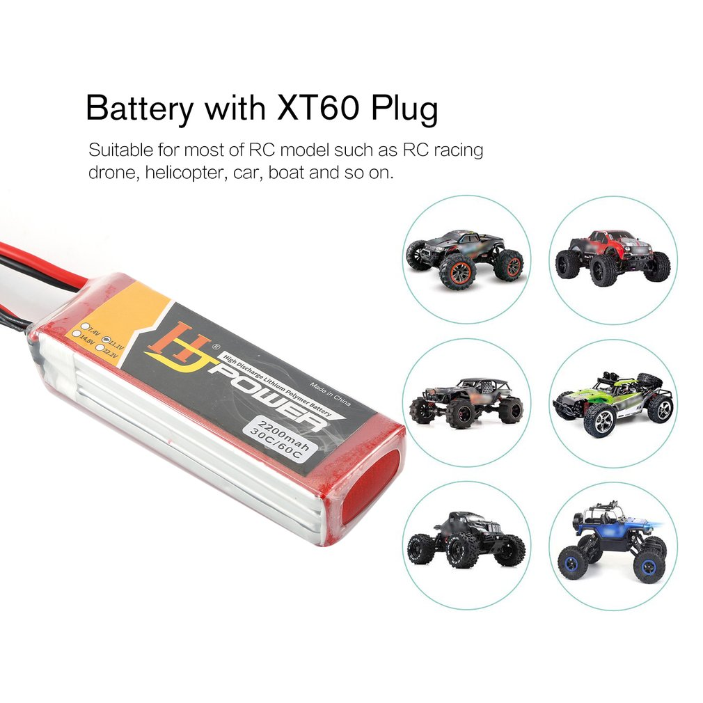 HJ 11.1V 2200MAH 70C <font><b>3S</b></font> Lipo <font><b>Battery</b></font> XT60 Plug Rechargeable for RC Racing Drone Helicopter Car Boat Model image