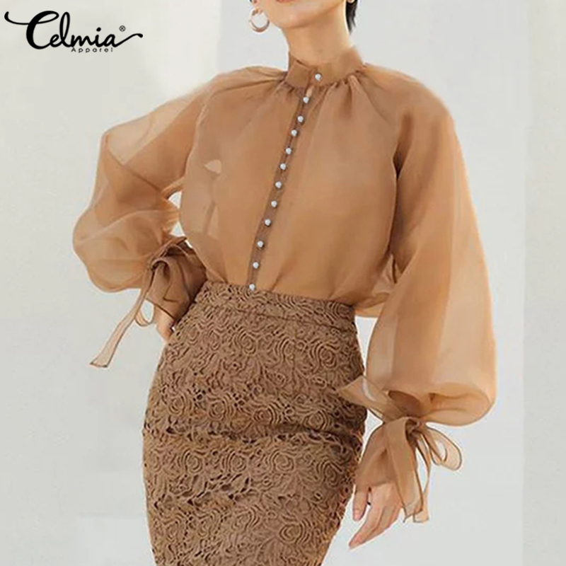 Women See Through Mesh Sheer Stylish Tops Celmia 2021 Autumn Summer Long Sleeve Buttons Bow Casual Transparent Blouse Sexy Shirt