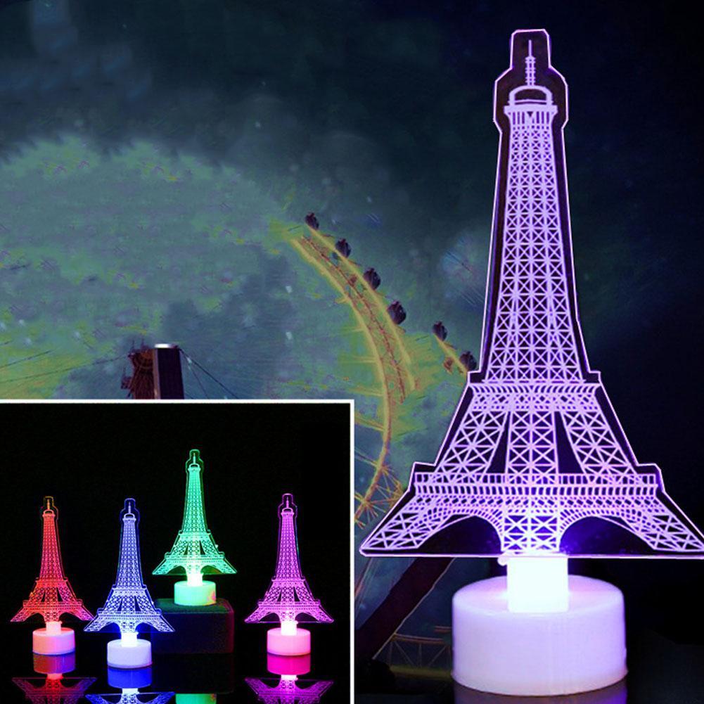 SOLLED 3D Romantic Eiffel Tower/Paris LED Night Light RGB Bedroom Table Lamp