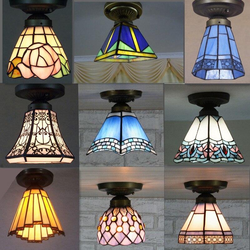 Baohua Tiffany Glass Lamp Ceiling Lamp Bedroom Balcony Hallway Entrance Hallway Bathroom European Style Special Offer