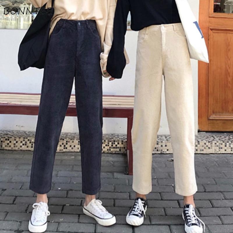 Pants Women Single Button Zipper Pockets Solid Color Simple Womens Trendy Ankle-Length Corduroy High Leisure All-match Korean