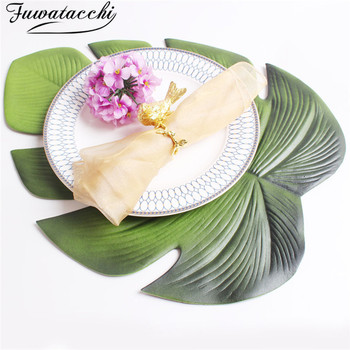 Fuwatacchi Placemat For Dining Table Lotus Leaf Cup Coffee Coasters Palm Leaf Simulation Plant PVC Table Mats Kitchen Decoration placemat dining table coasters simulation leaf plant pvc cup western food insulation pad table mats kitchen christmas home decor