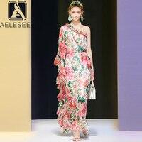 AELESEEN Vintage Irregular Dress Print Autumn Fashion One Shoulder Belt Flower Print Ruffles Printed Loose Long Maxi Dress