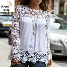 Summer Fashion Women Lace Crochet Tee Chiffon Shirt Blouse Female Hollow Long Sleeved Casual Shirts Tops Woman Blouses White(China)