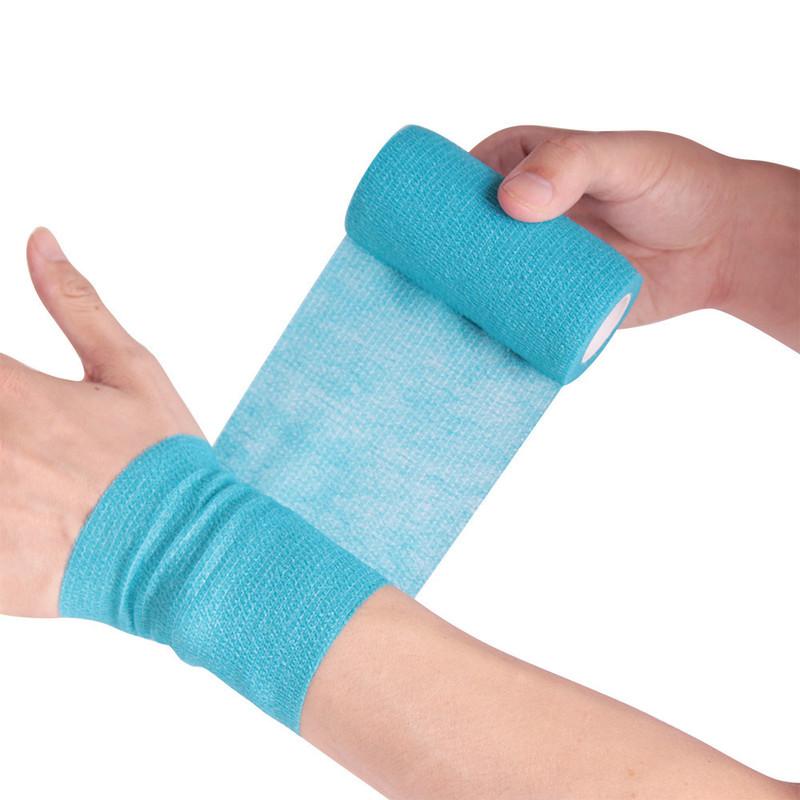 1Roll 2.5/5/10cm*4.5m Gauze Medical Bandage Self-adhesive Breathable Elastic Bandages for Sports Fixing Finger Wrist Leg