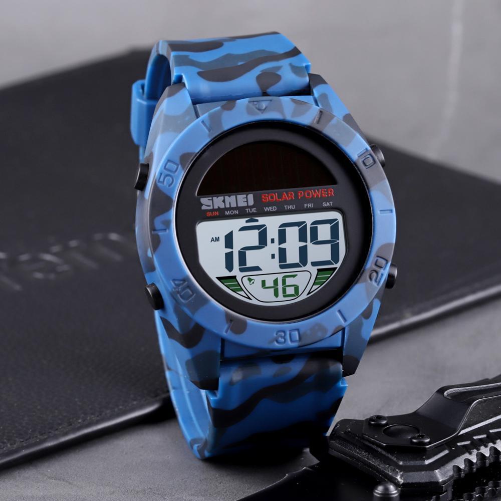 Fashion Solar Power Sports Watch Men SKMEI Brand Chrono Alarm LED Digital Wristwatches Waterproof Student Military Watches
