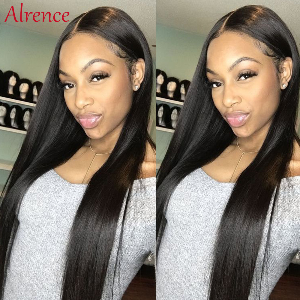 glueless lace wig for black women long straight human hair lace wig indian natural hair pre plucked lace front human hair wigs
