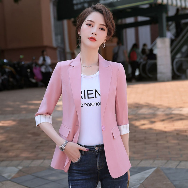 2021 Korean Fashion Women Short Blazers And Jackets Seven Sleeve Outerwear Elegant Ladies Coats Work Wear Black Pink Plus Size 1
