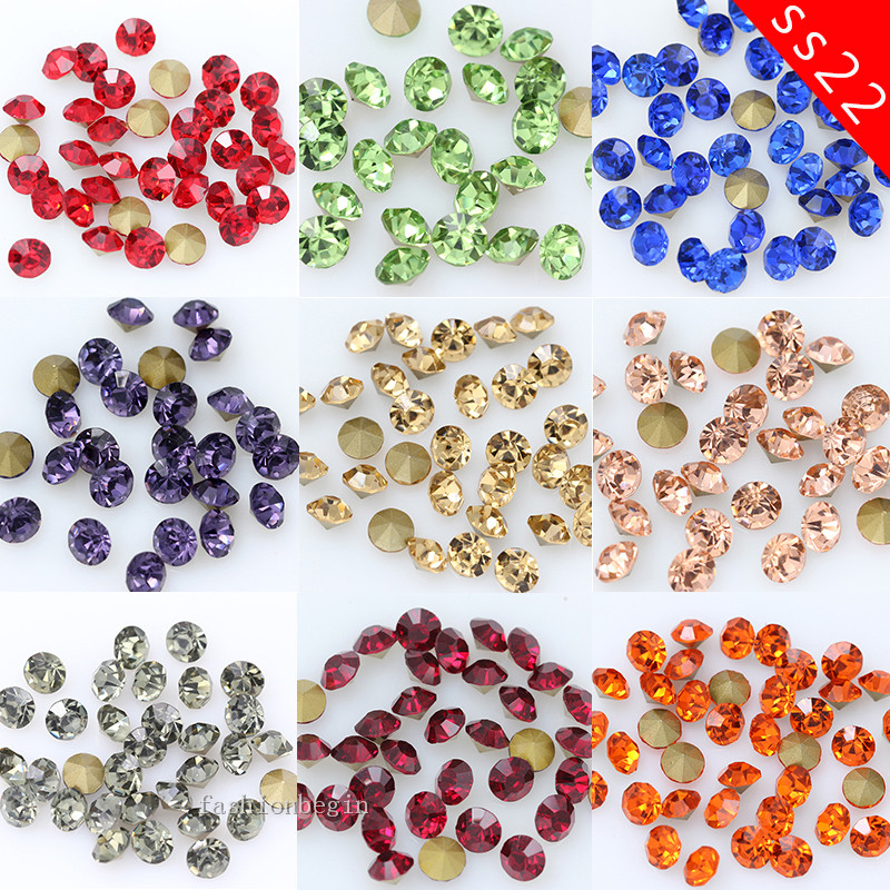 720/36p Ss22 Round Color Pointed Foiled Back Glass Strass Chatons Stone Czech Crystal Nail Art Rhinestone Jewelry Making Beads