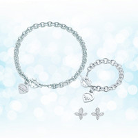 Sterling silver 925 classic popular simple original fashion silver heart shaped charm ladies necklace set ornament