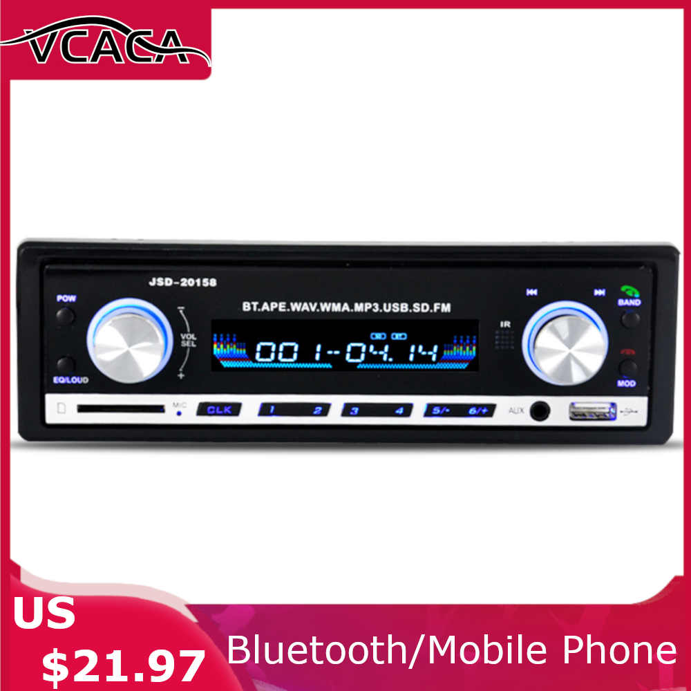 2020 MP3 Player Car EQ Sound Effect Stereo FM/AUX/TF/USB Bluetooth Blue Light Autoelectronic Subwoofer Audioplayer Player