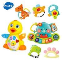 HOLA 1109 & 3135 & 808 5 pcs/Lot sûr dessin animé bébé hochet et multifonctionnel orgue électronique et jaune danse canard