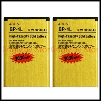 цена на 2PCS/LOT High Capacity Gold battery BP-4L BP 4L Battery for NOKIA N97 E61i E63 E90 E95 E71 6650F N810 E72 BATTERY 4L