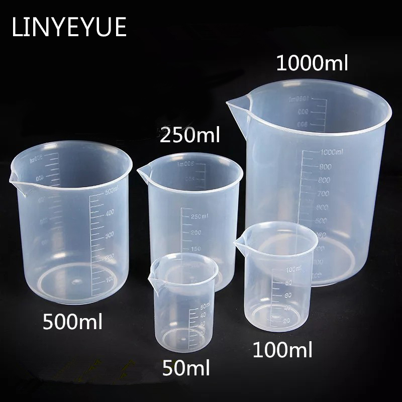 5 Pieces/set Plastic Beaker Food Grade PP Measuring Cup Turnable Spatula Laboratory Equipment