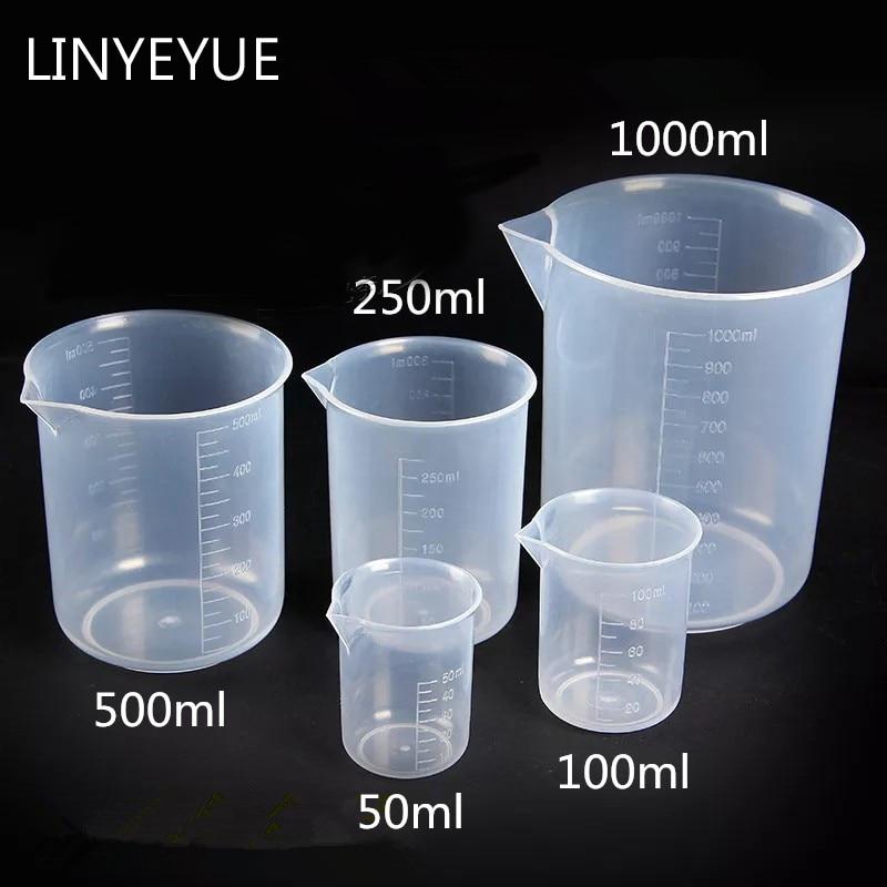 5 Pieces/set Plastic Beaker Food Grade PP Measuring Cup Turnable Spatula Laboratory Equipment
