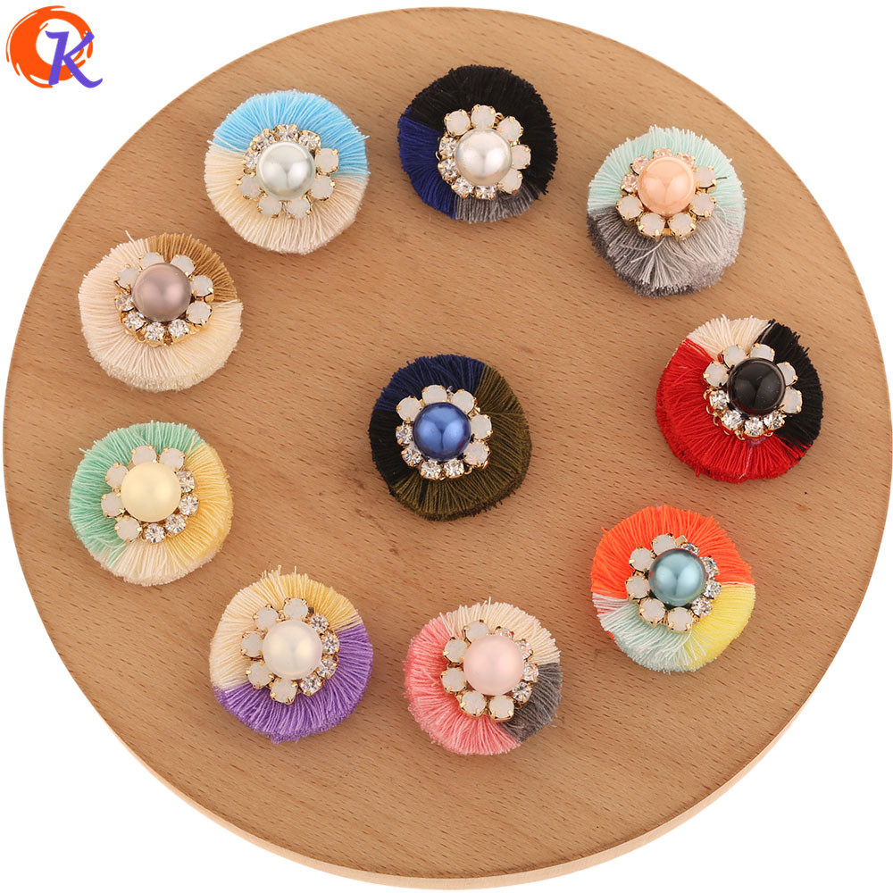 Cordial Design 10Pcs 27MM Jewelry Accessories/Hand Made/Rhinestone & Imitation Pearl/Flower Shape/DIY Making/Earring Findings