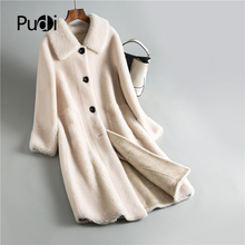 Fur Coat Jacket Shearing-Girl Sheep Real-Wool Winter Women Fall Wide-Waisted Long Warm