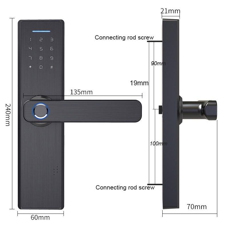 RAYKUBE serrure d'empreintes digitales carte à puce Code numérique serrure de porte électronique sécurité à domicile serrure à mortaise fil de dessin panneau R-FG5 - 6