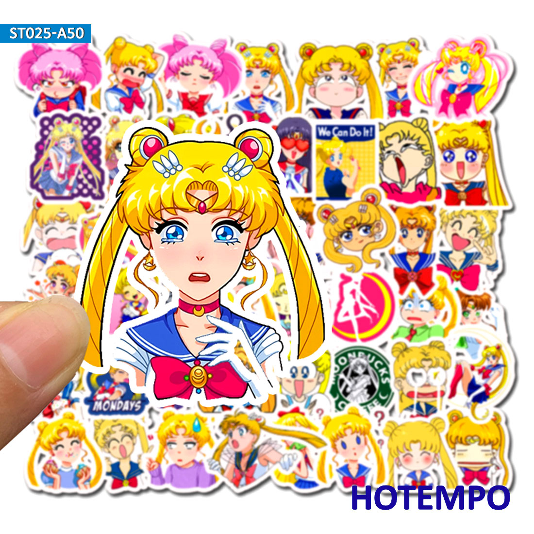 50pcs Anime Pretty Soldier Sailor Moon Stickers For DIY Mobile Phone Laptop Luggage Suitcase Guitar Skateboard Decal Stickers