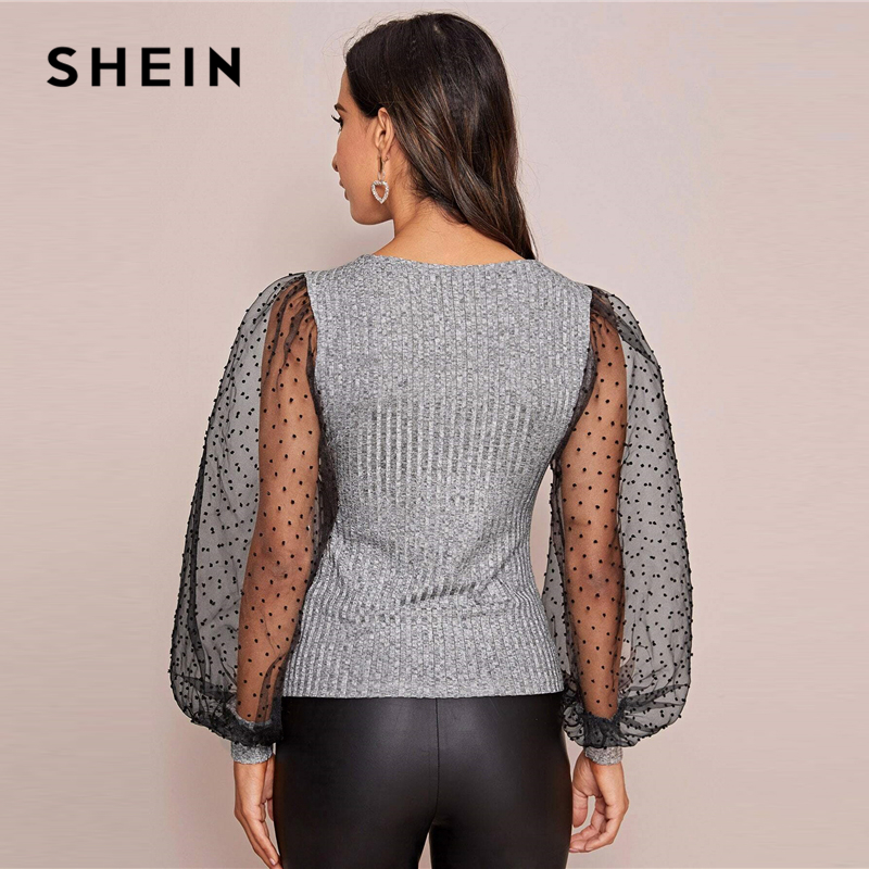 SHEIN Grey Contrast Mesh Lantern Sleeve Ribbed knit Glamorous Tee Women Tops 2020 Spring Colorblock Sheer Elegant Lady T-shirts 2