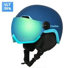 EnzoDate лыжный Снежный шлем со встроенным защитным козырьком 2 в 1 шлем для сноуборда и съемная маска объектив ночного видения Anit Fog