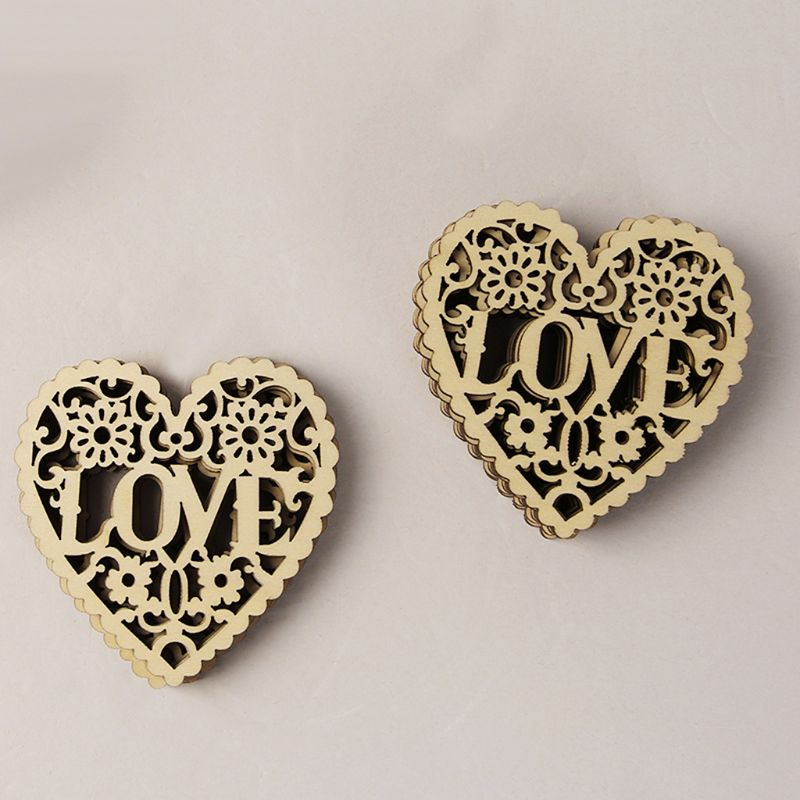 10PCS DIY Hollow Heart-shaped Wood Chips Love Letter Wooden Craved Embellishment Crafts Christmas Tree Hanging Ornament Decor