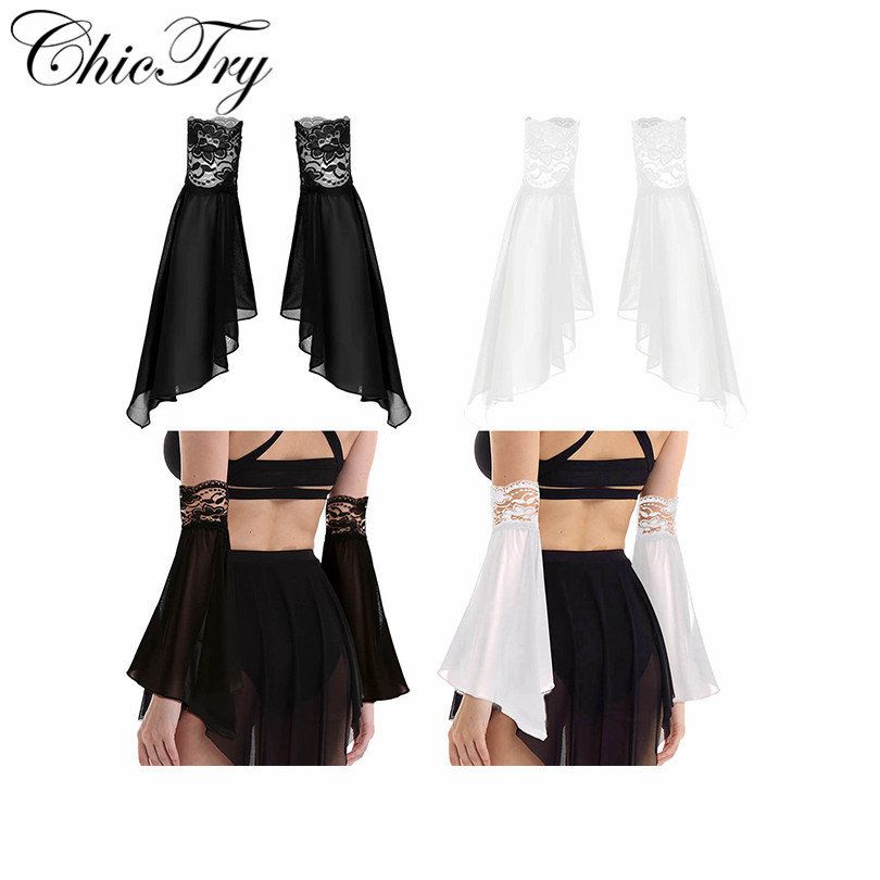 Women Elegant Ladies Stretchy Floral Lace Edge Sheer Chiffon Removable Flare Sleeves Clothing Accessories Outdoor Arm Warmers