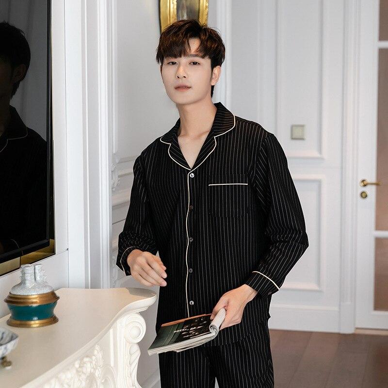 Autumn Men's Long-sleeved Trousers Pajama Set Lapel Cardigan Knitted Cotton Pajamas Men Striped Mansleepwear Luxury Men Clothing