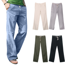 Clothing Loose-Pants Yoga-Trousers Drawstring Streetwear Plain Straight Men's Casual
