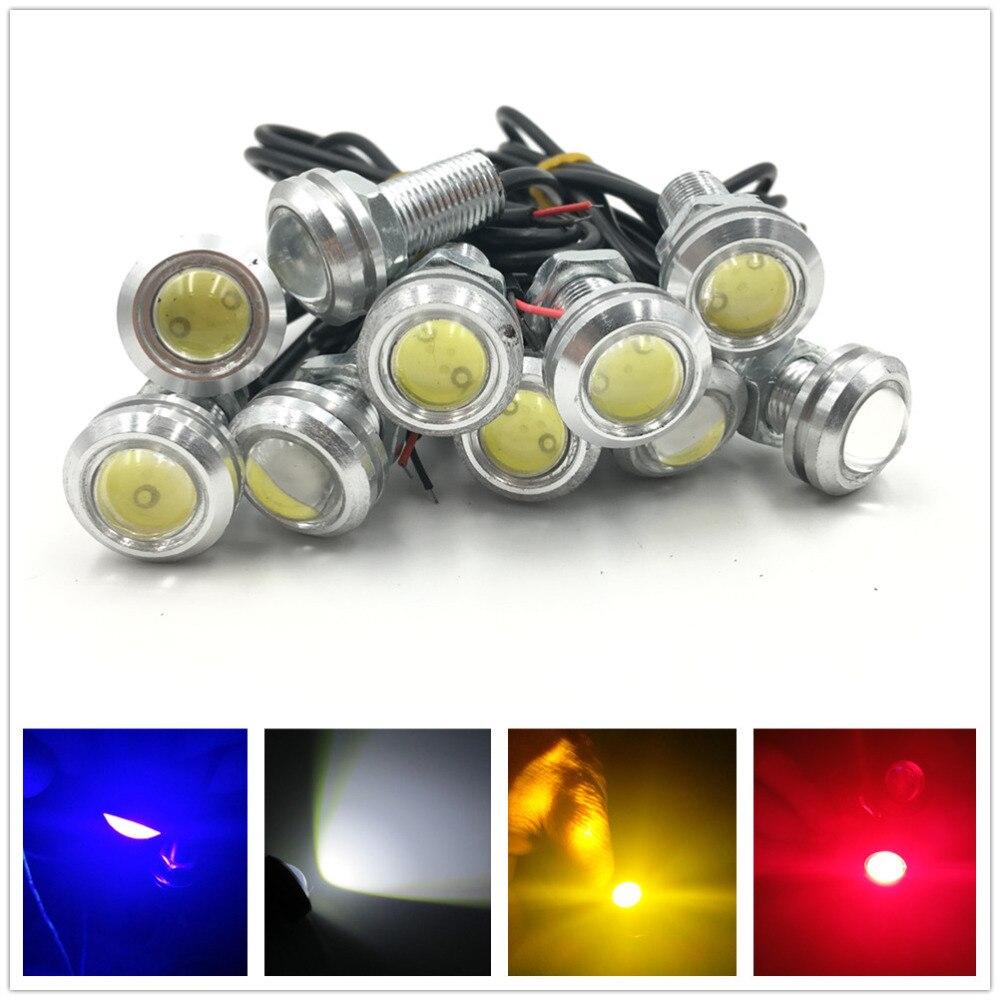 10 pçs 18mm vermelho branco azul âmbar dc 12 v 24 v 9 w eagle eye led diurno running drl luz de backup lâmpada do carro