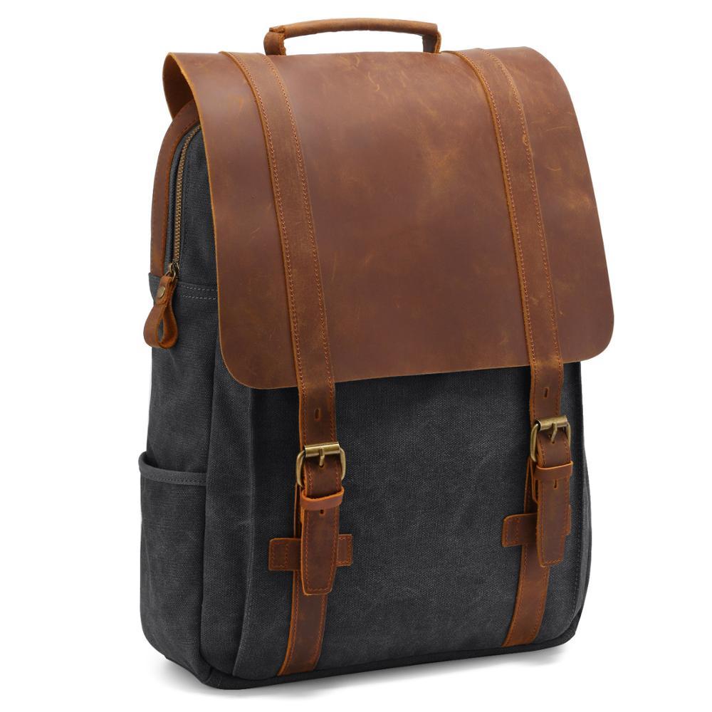 MAHEU Vintage Leinwand Rucksack Rucksack Dropshipping Reisetasche Leinwand Bagpack Mit Leder Abdeckung 20L - 35L Laptop Rucksack 15,6