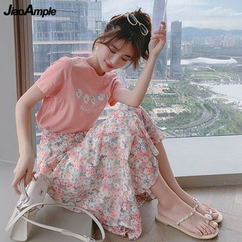 2021 Summer New Girls Sweet Daisy T-shirt Skirts Sets Women Leisure Print Floral Clothing Student Fashion Pink Slimming Dresses 1